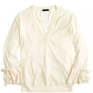 J. CREW Merino wool tie bell sleeve v neck sweater